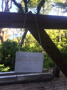 My son's attempt at optimism. The railing his sign is hanging from blew away in the storm.