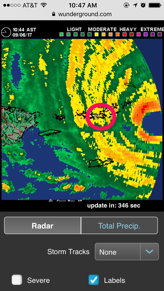 10:47 a.m. The last screenshot I took of the weather radar before we lost cell service. I've added a circle around St. John. We were certain the eye was coming our way and were looking forward to the break.